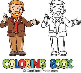 Funny university lecturer. Coloring book - Coloring book of...