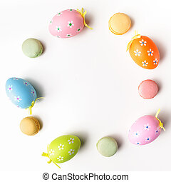 Stylish Frame background with easter eggs with copy space...