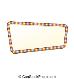 Advertising frame. Red street signboard with yellow and blue marquee lights. Colorful vector illustration.