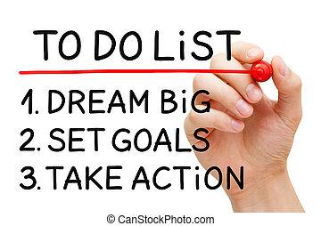 Dream Big Set Goals Take Action - Hand writing Dream Big,...