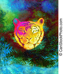 head of a young tiger on abstract space background with graphic structure effect.