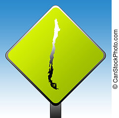 Chile road sign - Chile map on green diamond shaped road...
