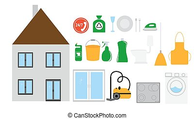 vecteur eps de maison outils nettoyage home nettoyage outils plat csp43441046. Black Bedroom Furniture Sets. Home Design Ideas