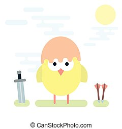 Flat illustration of chicken knight with sword and arrows.