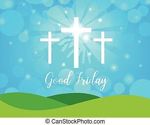Good Friday. Background with white cross and sun rays in the...
