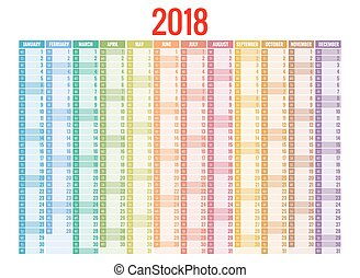 2018 calendar. Print Template. Week Starts Sunday. Portrait...