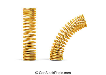 Golden helical coil springs, 3D rendering isolated on white...