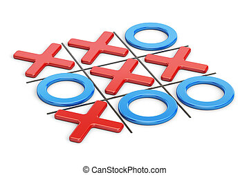 Tick-tac-toe, noughts and crosses game. 3D rendering