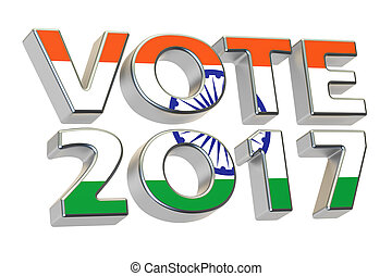 Vote 2017 in India. Indian election concept, 3D rendering...