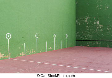 Fronton court painted in green - Typical fronton court...