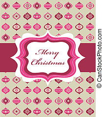 Pink Christmas background with retro frame and Christmas...