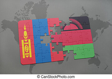 puzzle with the national flag of mongolia and malawi on a...