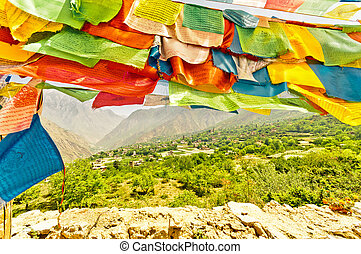 Buddhist prayer flags in Sichuan