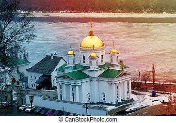 Photo of the Annunciation Monastery in winter in Novgorod