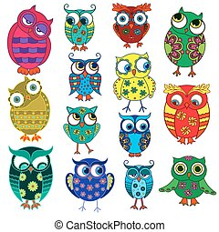 Fourteen cartoon funny owls - Set of fourteen colourful...