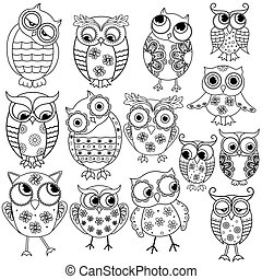 Fourteen cartoon funny owl outlines - Set of fourteen...