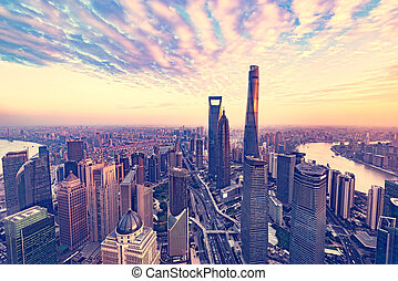 Aerial view of Shanghai city.