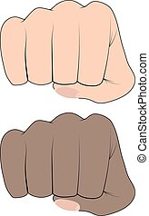Fist of an African and a white man on a white background