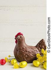 composición, huevos, Pascua, pollo,  chocolate