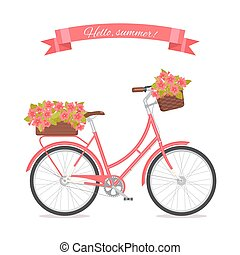 Pink retro bicycle with bouquet in floral basket and box on trunk for wedding, congatulation banner, invite, card