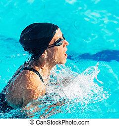 Estilo pecho, nadador
