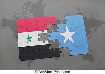 puzzle with the national flag of syria and somalia on a...