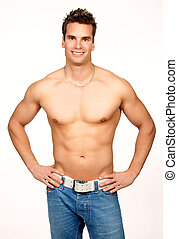 Strong man - Smiling young strong man Isolated over white...