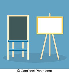 Wooden easel with blank canvas. Board for drawing and recording business ideas with crayons or a marker. Vector illustration isolated on color background.