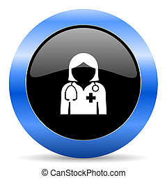 Doctor black and blue web design round internet icon with...