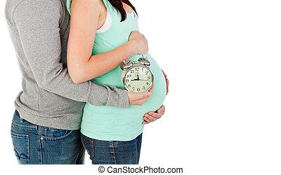 close-up, amando, futuro, pais, segurando, relógio,...