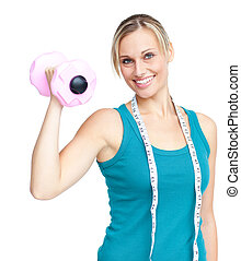 Young woman holdng a dumbbell