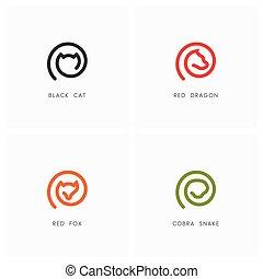 Animal outline logo set. Black cat, red dragon, fox and...