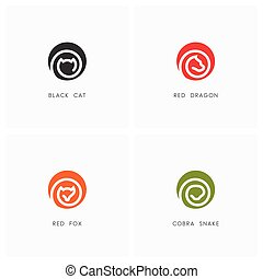 Animal logo set. Black cat, red dragon, fox and cobra snake...