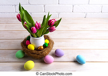 Easter table centerpiece with hand painted eggs in nest -...