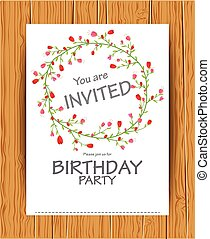 Birthday invitation card with beautiful flower
