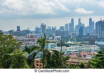 地区, 住宅の, 光景, 航空写真, シンガポール