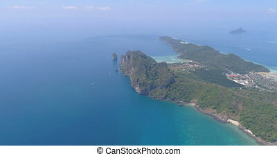 Aerial drone video of sea and coastline from iconic tropical...