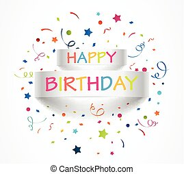 Happy birthday banner with colorful confetti - vector...