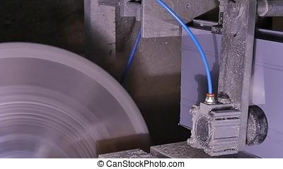 Circular saw for cutting aluminum. Sawing metal. Circular...