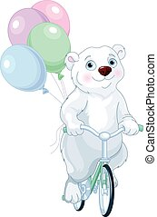 Polar Bear Riding a Bicycle with Balloons - Cute polar bear...