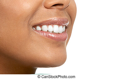 woman mouth - Beautiful young woman. Isolated over white...