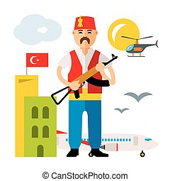 Vector Turkey Airport. Security Officer. Flat style colorful...