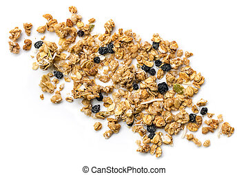Muesli or Granola Scattered on White Top view - Crunchy...