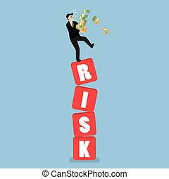 Businessman carrying his money on shaky risk blocks....