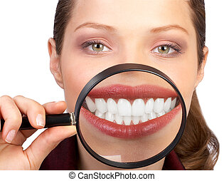 Healthy teeth - Smiling  young woman with healthy teeth