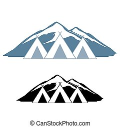 Logos of wigwams. Logo rest in the mountains. For travel...