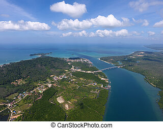 Aerial photo of estuaries and strait - Aerial view on...