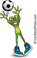 Frog Goalkeeper - Illustration Green Frog Goalkeeper with a...