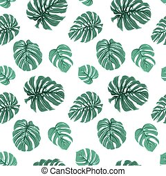 Exotic tropical green monstera leaves pattern - Tropical...