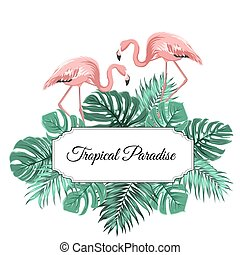 Tropical paradise banner border frame decorated